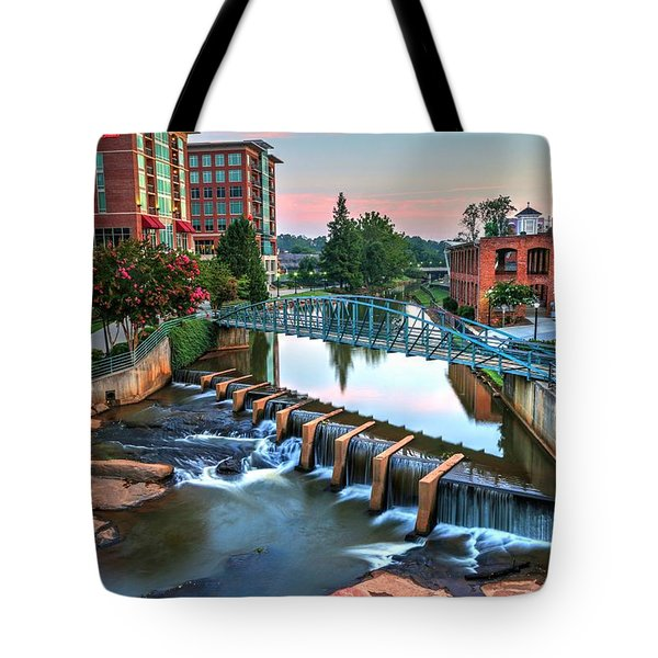 Downtown Greenville On The River Tote Bag