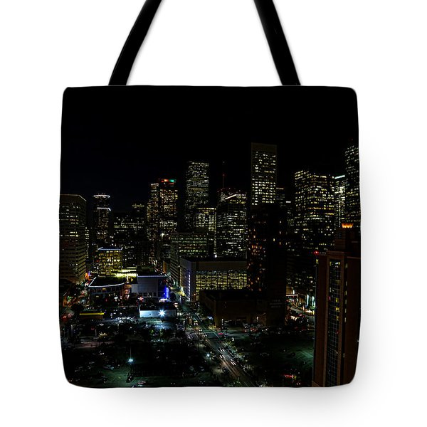 Downtown Houston At Night Tote Bag by Judy Vincent