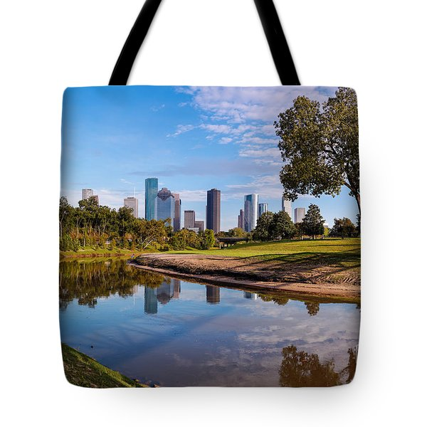 Downtown Houston Panorama From Buffalo Bayou Park Tote Bag
