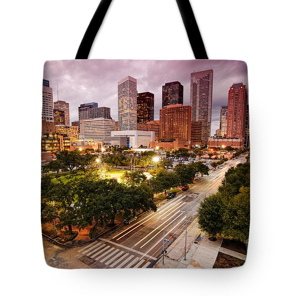 Downtown Houston Skyline During Twilight Tote Bag