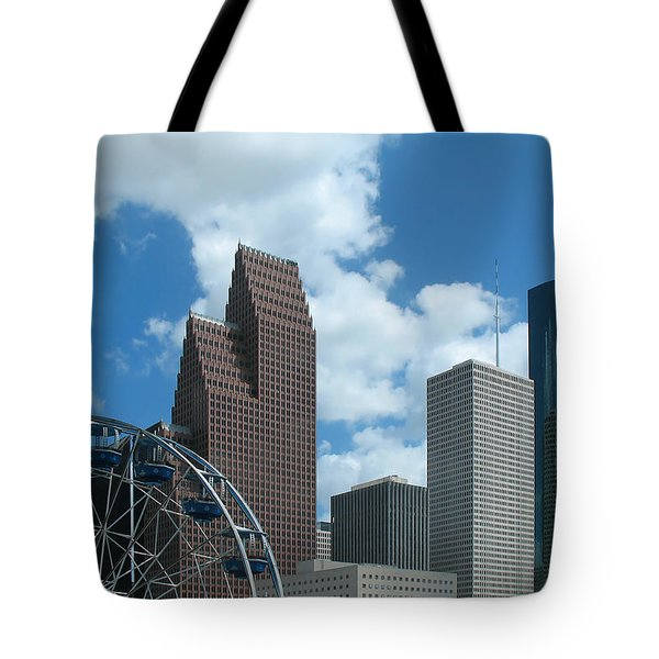 Downtown Houston With Ferris Wheel Tote Bag