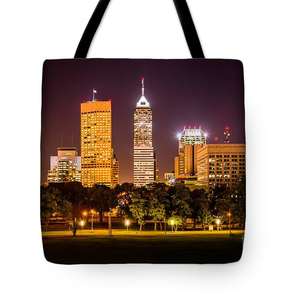 Downtown Indianapolis Skyline At Night Picture Tote Bag by Paul Velgos
