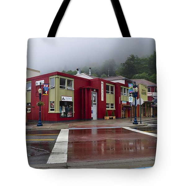 Tote Bag featuring the photograph Downtown Juneau On A Rainy Day by Cathy Mahnke