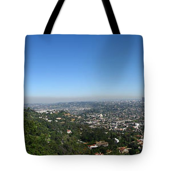 Downtown La From Griffith Observatory Tote Bag by Bedros Awak