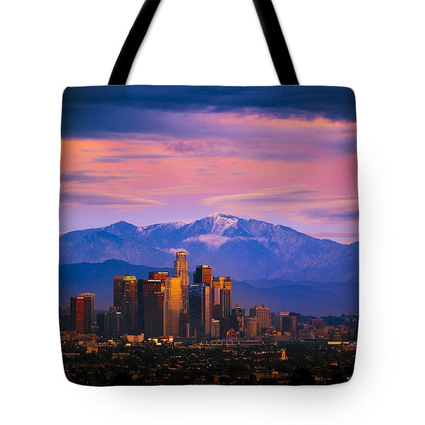 Downtown Los Angeles After Sunset Tote Bag by Joe Doherty