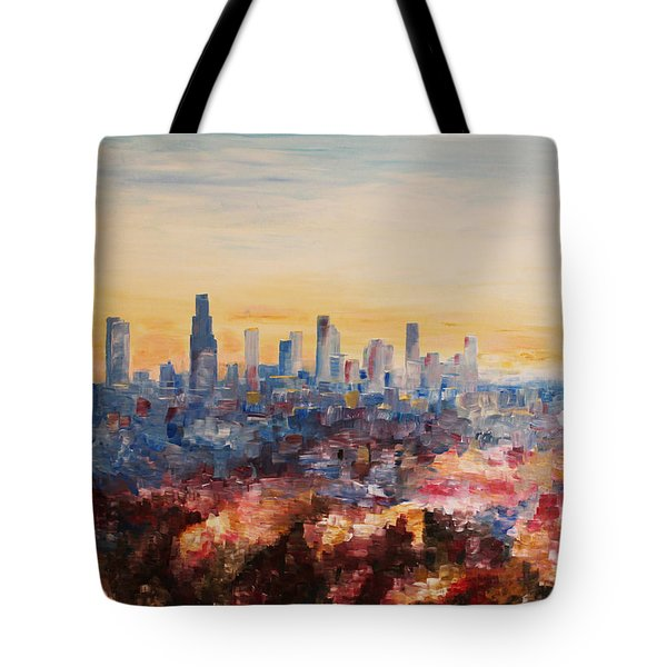Downtown Los Angeles At Dusk Tote Bag by M Bleichner