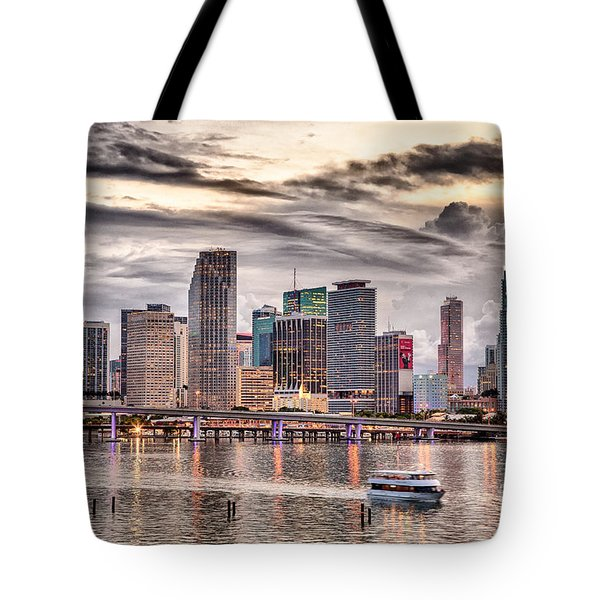 Downtown Miami Skyline In Hdr Tote Bag