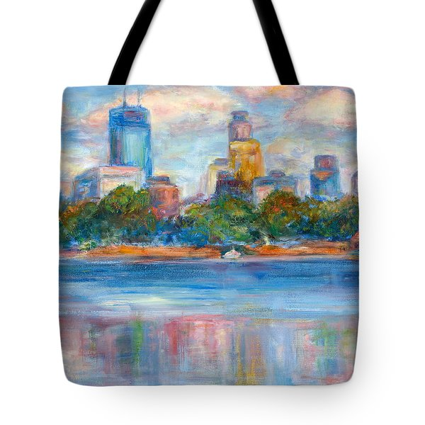 Downtown Minneapolis Skyline From Lake Calhoun II - Or Commission Your City Painting Tote Bag by Quin Sweetman
