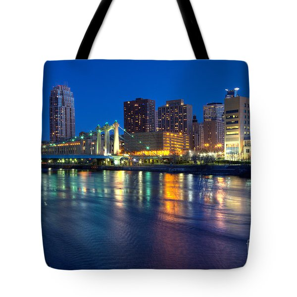 Downtown Minneapolis Skyline Hennepin Avenue Bridge Tote Bag