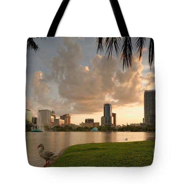 Downtown Orlando Skyline Lake Eola Sunset Tote Bag