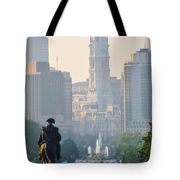 Downtown Philadelphia - Benjamin Franklin Parkway Tote Bag by Bill Cannon