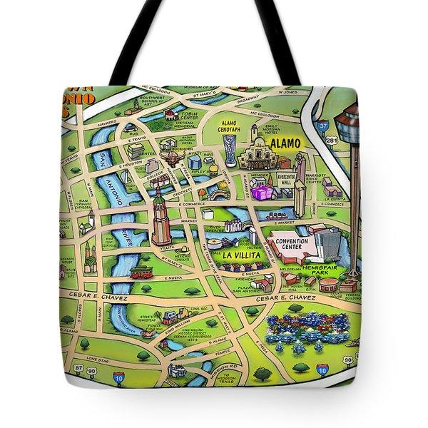 Downtown San Antonio Texas Cartoon Map Tote Bag