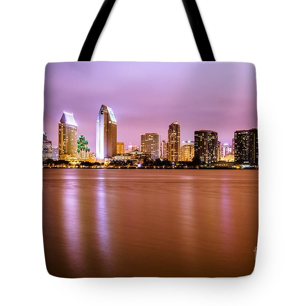 Downtown San Diego Skyline At Night Tote Bag by Paul Velgos