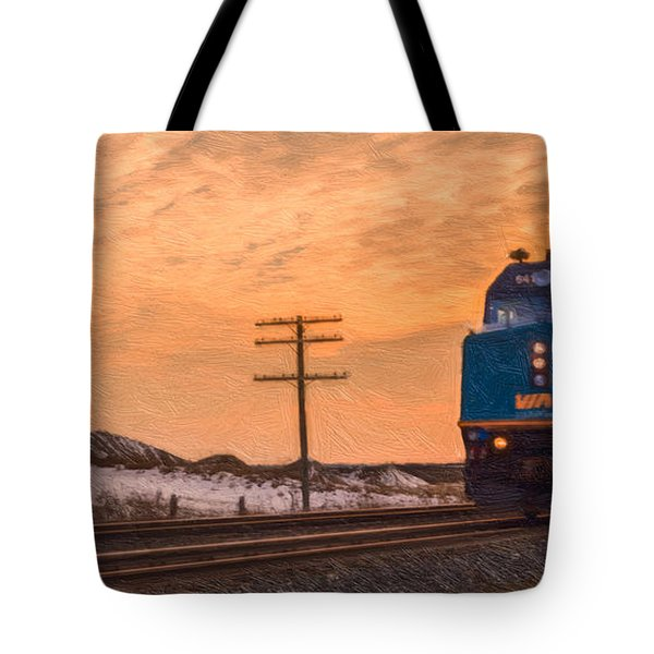 Downtown Train Tote Bag