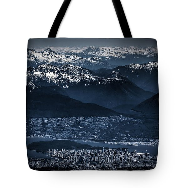 Downtown Vancouver And The Mountains Aerial View Low Key Tote Bag by Eti Reid
