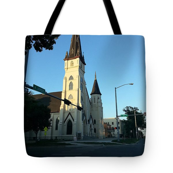 Tote Bag featuring the photograph Downtown Worship by Caryl J Bohn