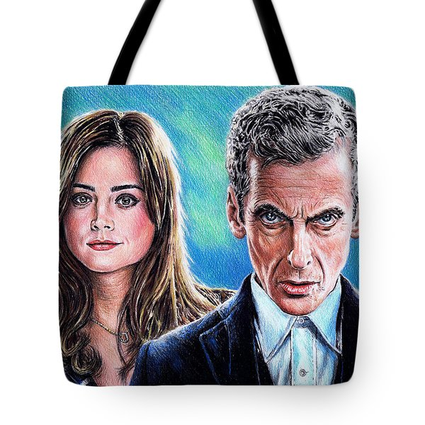 Dr Who And Clara Tote Bag