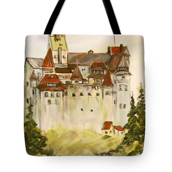 Tote Bag featuring the painting Dracula's Castle In Bran Romania by Dorothy Maier