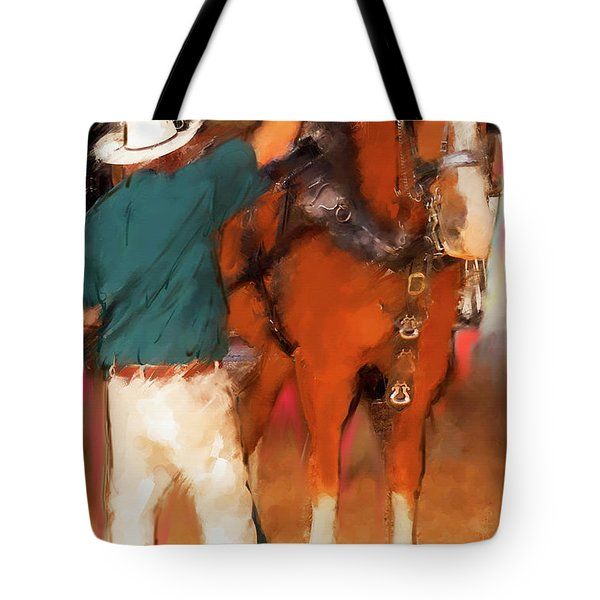 Draft Horse And Trainer Tote Bag