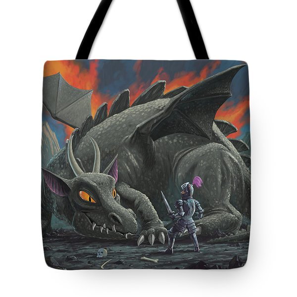 Dragon Looking At Next Meal Tote Bag by Martin Davey