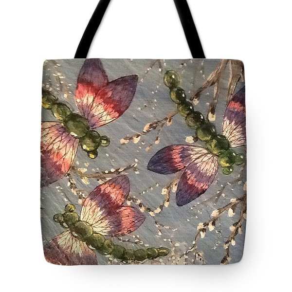 Tote Bag featuring the painting Dragonflies 5 by Megan Walsh