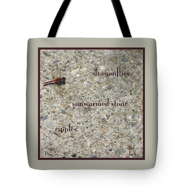 Tote Bag featuring the photograph Dragonflies Haiga by Judi and Don Hall