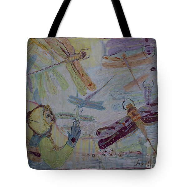 Dragonflies In Winter Tote Bag by Avonelle Kelsey
