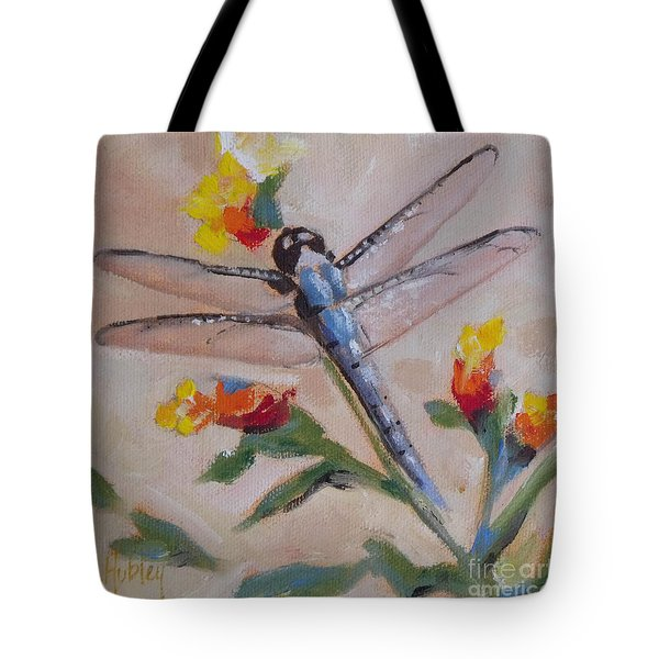 Dragonfly And Flower Tote Bag