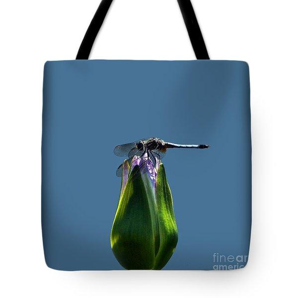 Dragonfly Appreciates A Flower Tote Bag by Byron Varvarigos