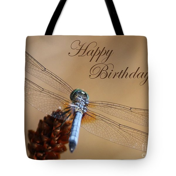 Dragonfly Birthday Card Tote Bag by Carol Groenen