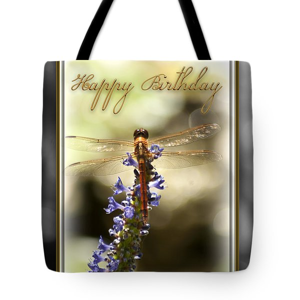Tote Bag featuring the photograph Dragonfly Birthday Card by Carolyn Marshall