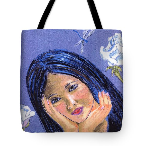 Tote Bag featuring the painting Dragonfly Dreamer by Jane Small