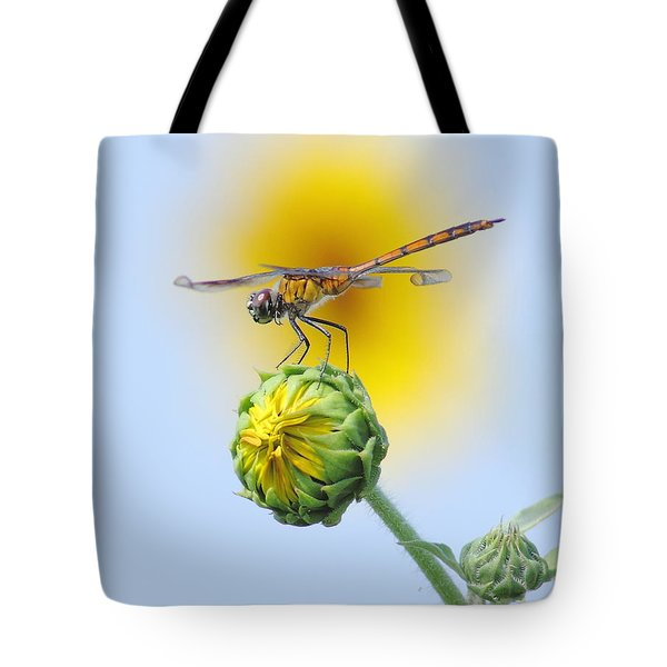 Dragonfly In Sunflowers Tote Bag by Robert Frederick
