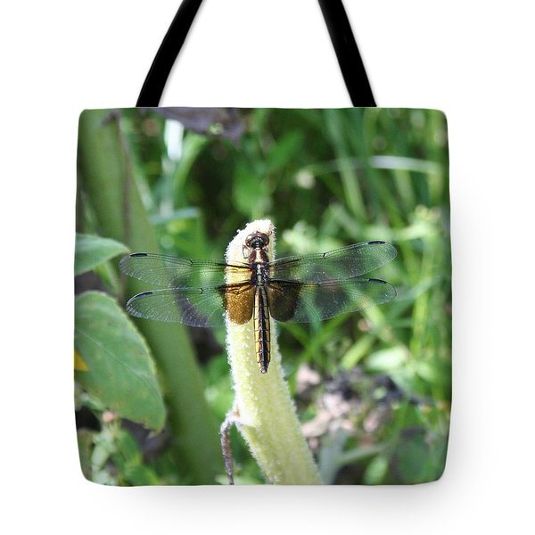 Tote Bag featuring the photograph Dragonfly by Karen Silvestri