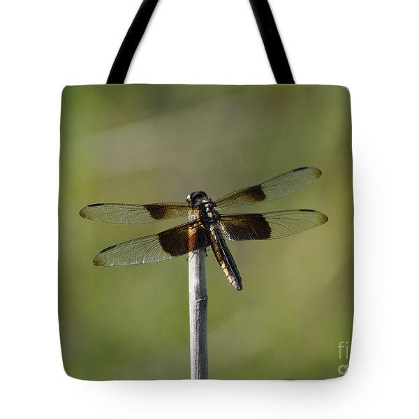 Dragonfly On A Stick Tote Bag by Cheryl McClure