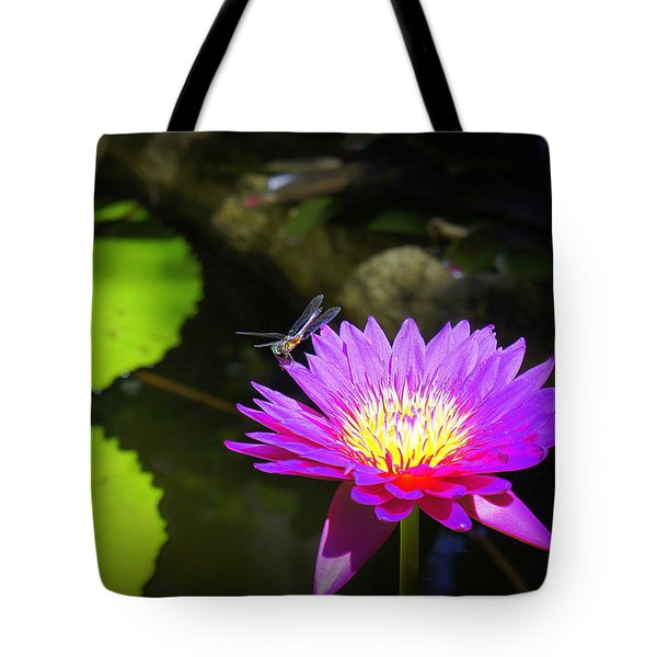 Tote Bag featuring the photograph Dragonfly Resting by Laurie Perry