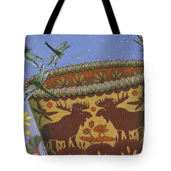 Tote Bag featuring the painting Dragonfly - Cohkanapises by Chholing Taha