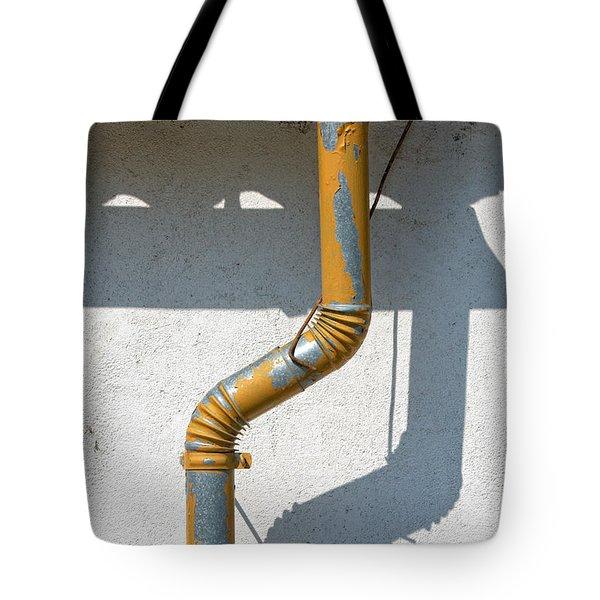 Drainpipe White Structured Wall  Tote Bag