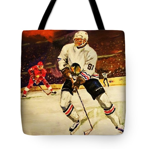 Tote Bag featuring the painting Drama On Ice by Al Brown