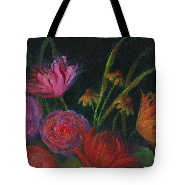 Dramatic Floral Still Life Painting Tote Bag by Mary Wolf