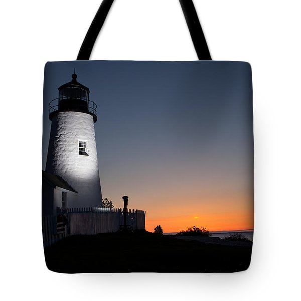 Dramatic Lighthouse Sunrise Tote Bag