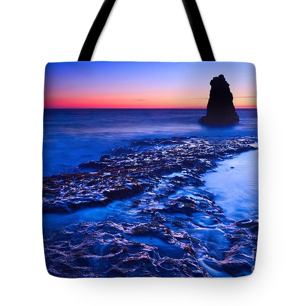 Dramatic Sunset View Of A Sea Stack In Davenport Beach Santa Cruz. Tote Bag by Jamie Pham