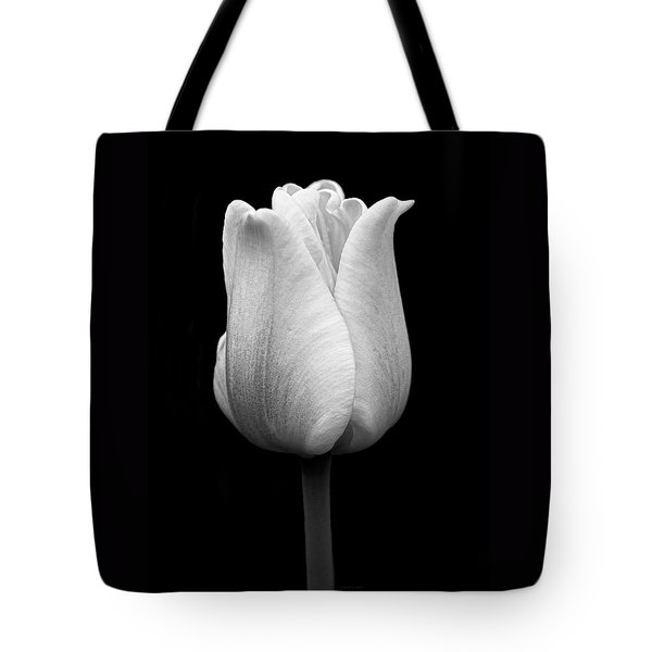 Dramatic Tulip Flower Black And White Tote Bag by Jennie Marie Schell
