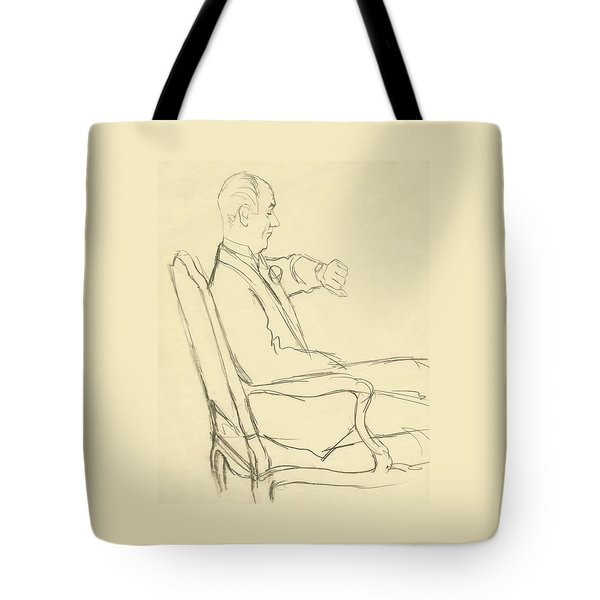 Drawing Of Man Looking At His Watch Tote Bag