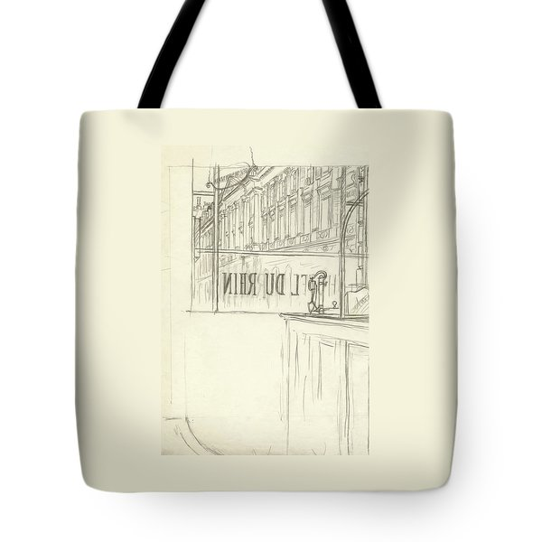 Drawing Of A Bar And Front Window Of Hotel Du Rhin Tote Bag
