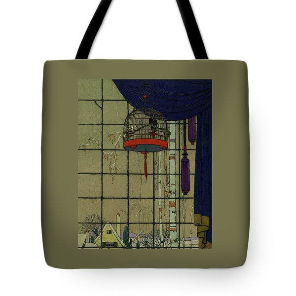 Drawing Of A Bid In A Cage In Front Of A Window Tote Bag