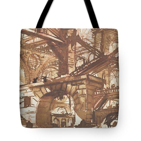 Drawing Of An Imaginary Prison Tote Bag by Giovanni Battista Piranesi