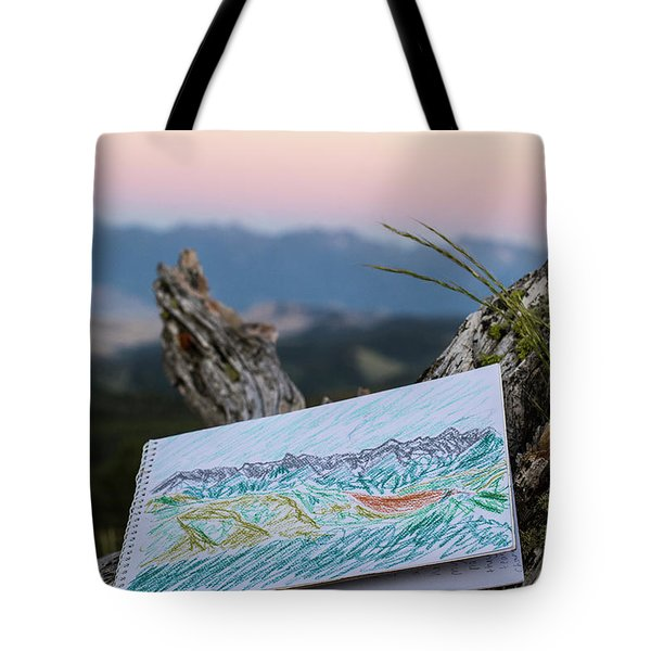 Drawing Of Montanas Rocky Mountains Tote Bag