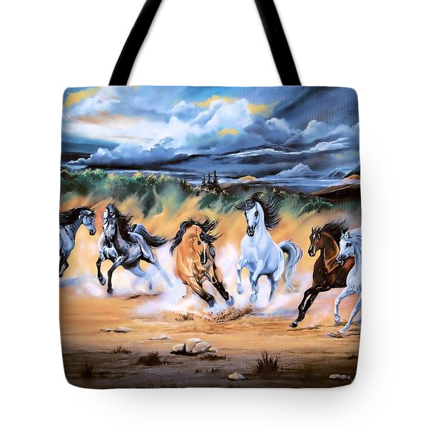 Dream Horse Series 125 - Flat Bottom River Wild Horse Herd Tote Bag