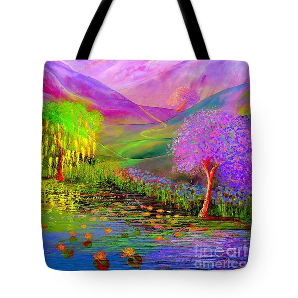 Tote Bag featuring the painting Dream Lake by Jane Small
